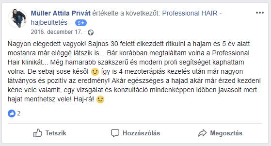 Facebook értékelés a hajszalhijan.hu klinikáról